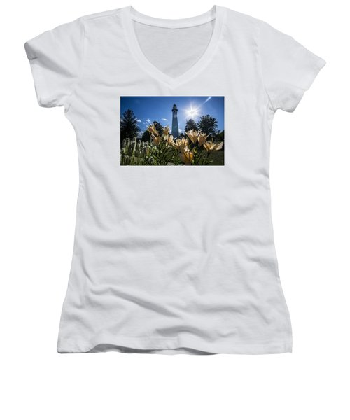 Lighthouse With A Flowery Foreground Women's V-Neck