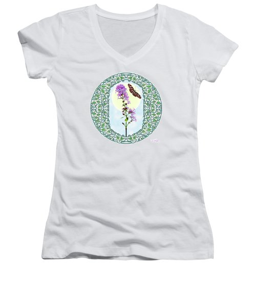 Women's V-Neck T-Shirt (Junior Cut) featuring the digital art Lilac With Butterfly by Lise Winne