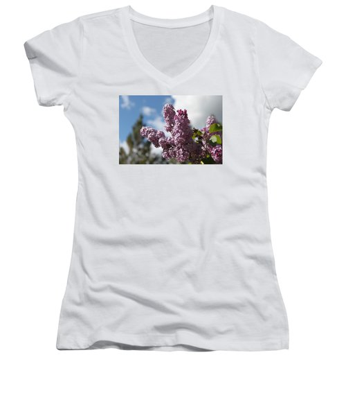 Women's V-Neck T-Shirt (Junior Cut) featuring the photograph Lilacs 5547 by Antonio Romero