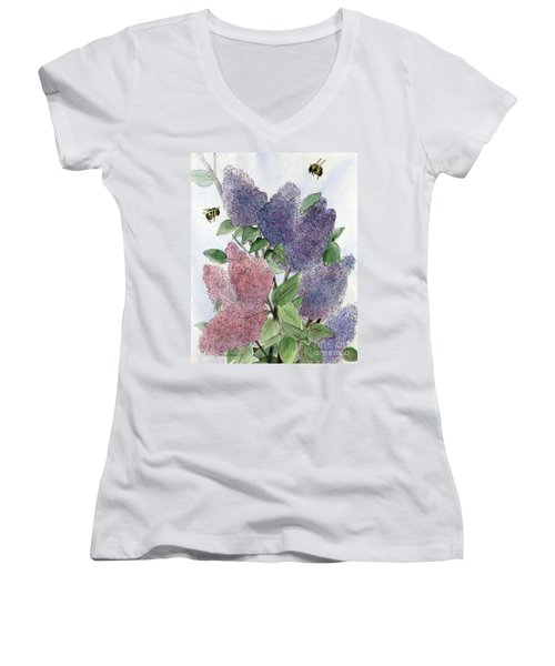 Lilacs And Bees Women's V-Neck