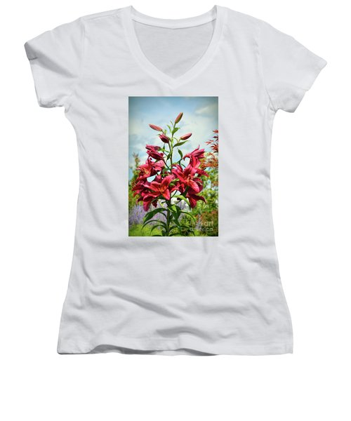 Women's V-Neck T-Shirt featuring the photograph Lilies In The Garden by Kerri Farley