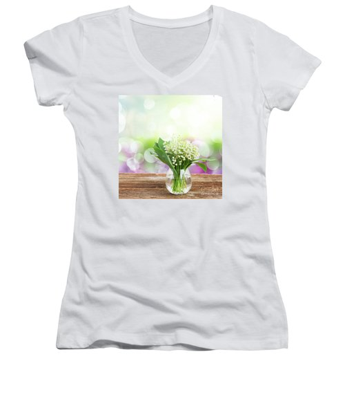 Lilly Of Valley Posy In Glass Women's V-Neck (Athletic Fit)
