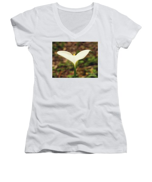 Lily Of The Valley Women's V-Neck T-Shirt (Junior Cut) by Cassandra Buckley