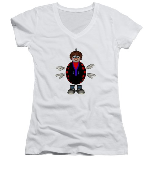Lily The Ladybug Women's V-Neck T-Shirt (Junior Cut) by Steve Kelly