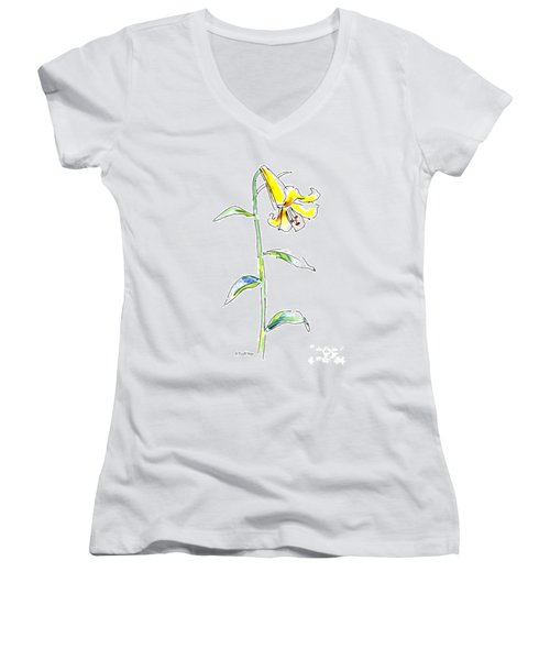 Lily Watercolor Painting 2 Women's V-Neck