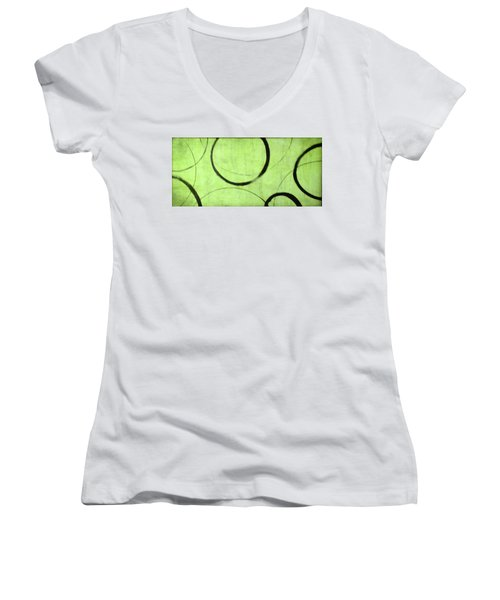 Lime Ensos Women's V-Neck T-Shirt (Junior Cut) by Julie Niemela