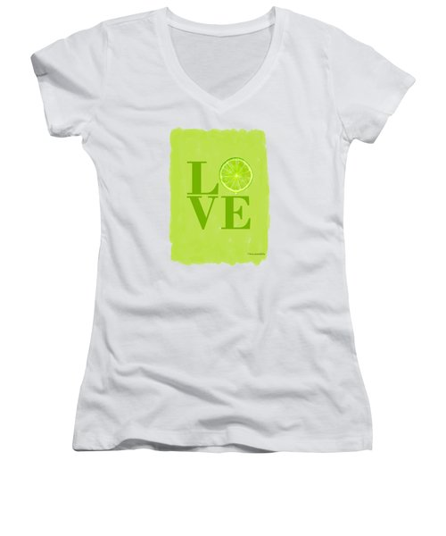 Lime Women's V-Neck T-Shirt (Junior Cut) by Mark Rogan