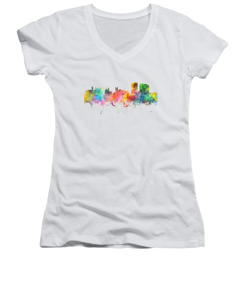 Limerick Ireland Skyline Women's V-Neck T-Shirt (Junior Cut) by Marlene Watson