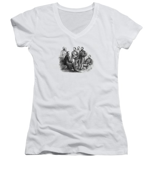 Lincoln And His Generals Black And White Women's V-Neck (Athletic Fit)