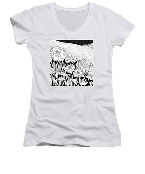 Linda's Garden Women's V-Neck T-Shirt (Junior Cut) by Lou Belcher