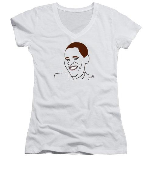 Line Art Man Women's V-Neck T-Shirt (Junior Cut) by Priscilla Wolfe
