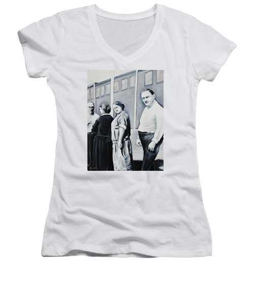 Line Of Peculiar People Women's V-Neck T-Shirt (Junior Cut) by Jean Cormier