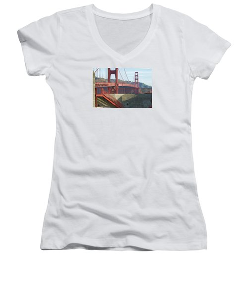 Women's V-Neck T-Shirt featuring the photograph Linear Golden Gate Bridge by Steve Siri
