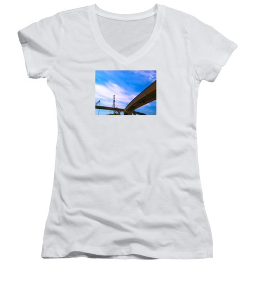 Women's V-Neck T-Shirt (Junior Cut) featuring the photograph Lineing The Sky by Jamie Lynn
