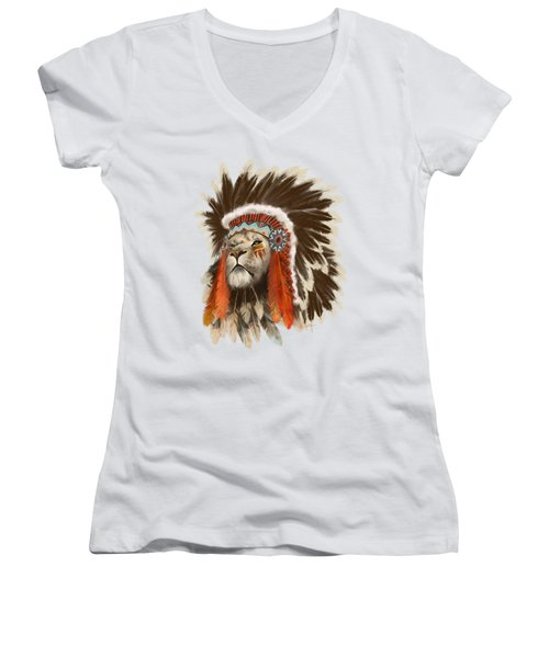 Lion Chief Women's V-Neck T-Shirt (Junior Cut) by Sassan Filsoof
