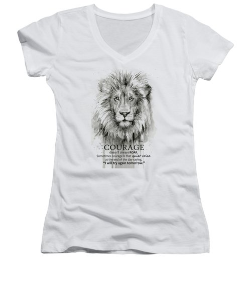 Lion Courage Motivational Quote Watercolor Animal Women's V-Neck (Athletic Fit)