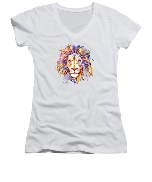 Lion Head Women's V-Neck T-Shirt (Junior Cut) by Marian Voicu