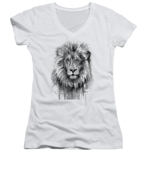 Lion Watercolor  Women's V-Neck (Athletic Fit)
