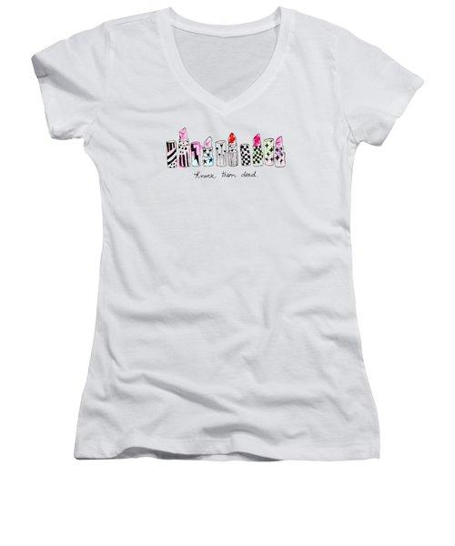 Lipstick Galore Women's V-Neck T-Shirt (Junior Cut) by Elizabeth Taylor