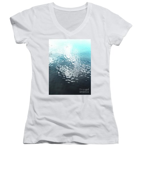 Women's V-Neck T-Shirt (Junior Cut) featuring the photograph Liquid Blue by Rebecca Harman