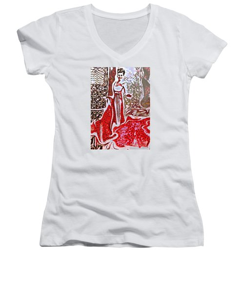 Liquid Red Women's V-Neck