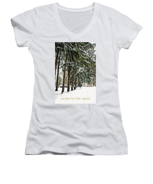 Women's V-Neck T-Shirt (Junior Cut) featuring the photograph Listen To The Quiet by Sandy Moulder