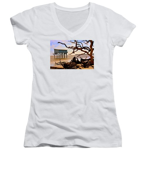 Little Blue Hunting Island State Park Beaufort Sc Women's V-Neck T-Shirt