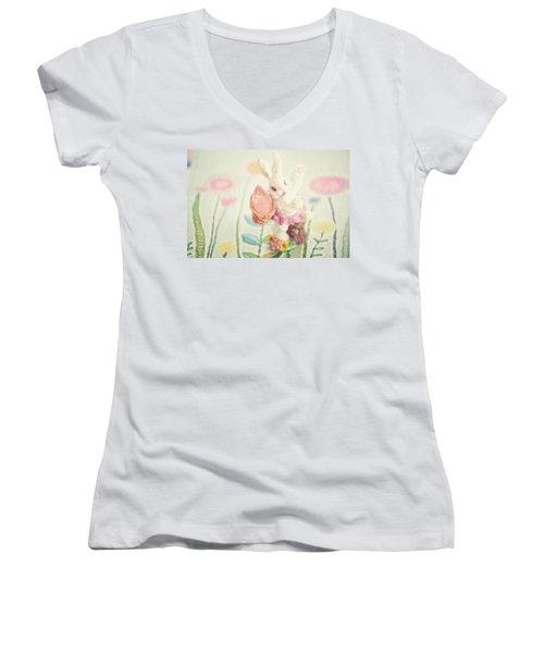 Little Bunny In The Garden Women's V-Neck T-Shirt (Junior Cut) by Toni Hopper