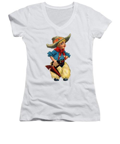 Little Cowboy T Shirt Women's V-Neck