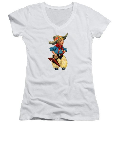 Little Cowboy T Shirt Women's V-Neck