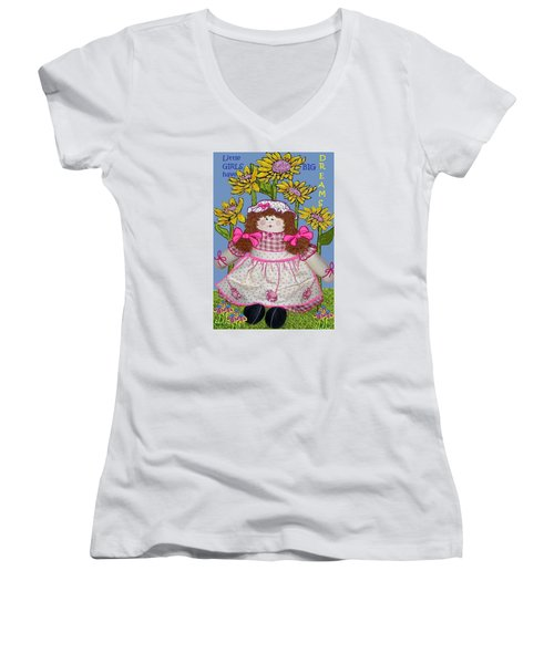 Little Girls Have Big Dreams Women's V-Neck T-Shirt (Junior Cut) by Suzanne Theis