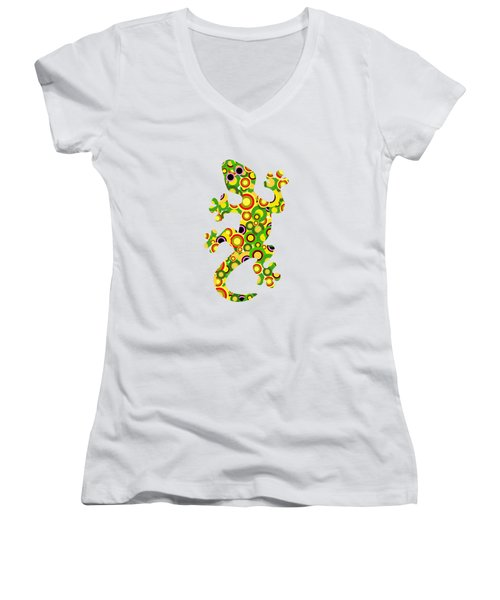 Little Lizard - Animal Art Women's V-Neck T-Shirt (Junior Cut) by Anastasiya Malakhova