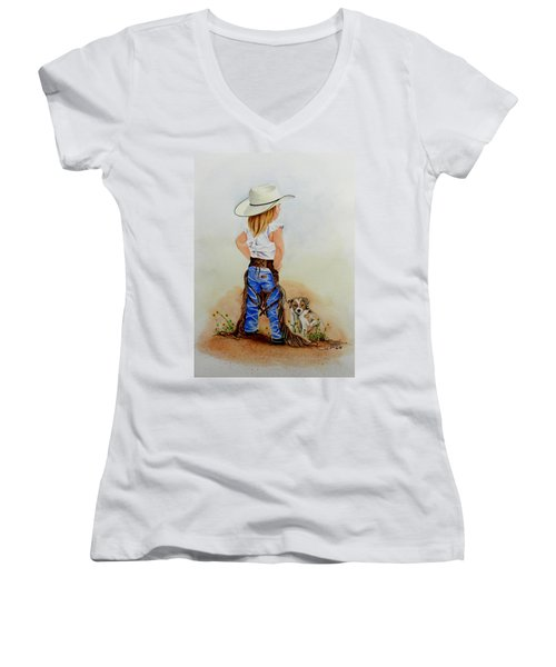 Little Miss Big Britches Women's V-Neck T-Shirt (Junior Cut) by Jimmy Smith