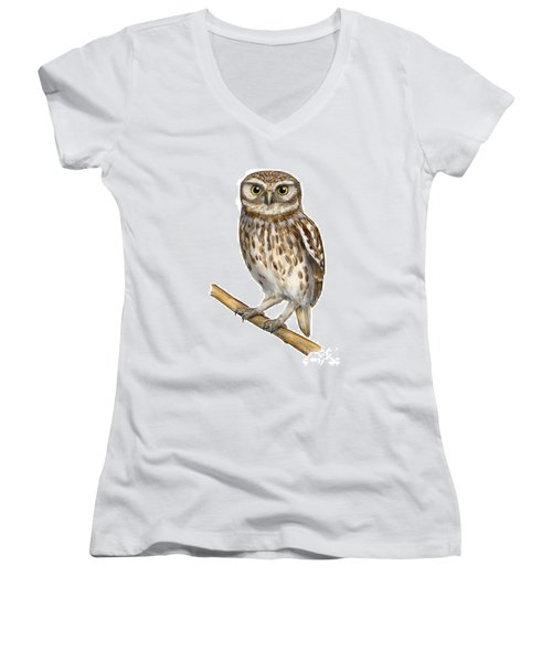 Little Owl Or Minerva's Owl Athene Noctua - Goddess Of Wisdom- Chouette Cheveche- Nationalpark Eifel Women's V-Neck