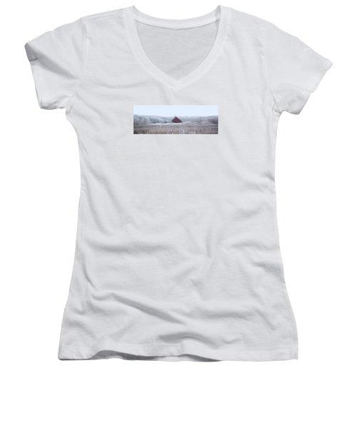Little Red House Women's V-Neck T-Shirt (Junior Cut) by Ellery Russell