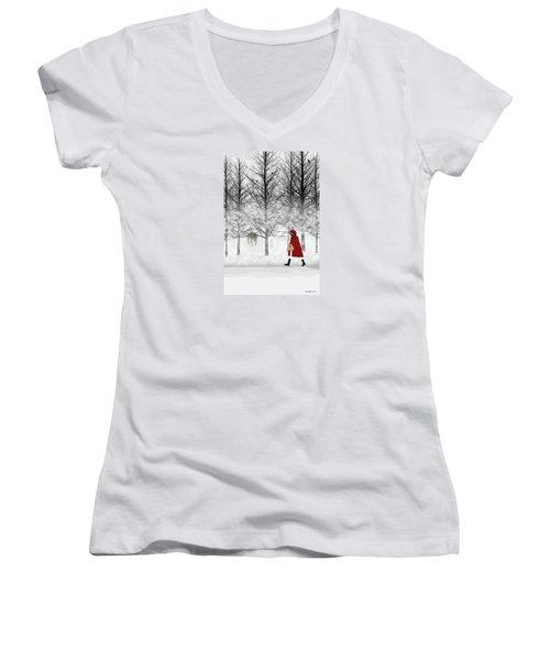 Women's V-Neck T-Shirt (Junior Cut) featuring the digital art Little Red by Nancy Levan