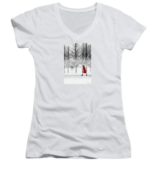 Women's V-Neck (Athletic Fit) featuring the digital art Little Red by Nancy Levan