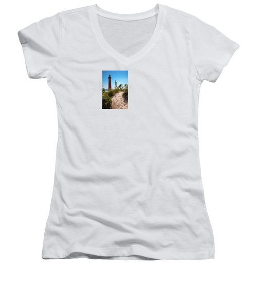 Women's V-Neck T-Shirt (Junior Cut) featuring the photograph Little Sable Light Station - Film Scan by Larry Carr