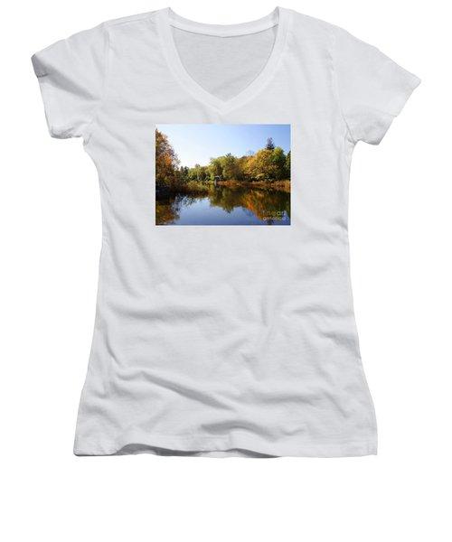 Little Shawme Pond In Sandwich Massachusetts Women's V-Neck T-Shirt (Junior Cut) by Rod Jellison