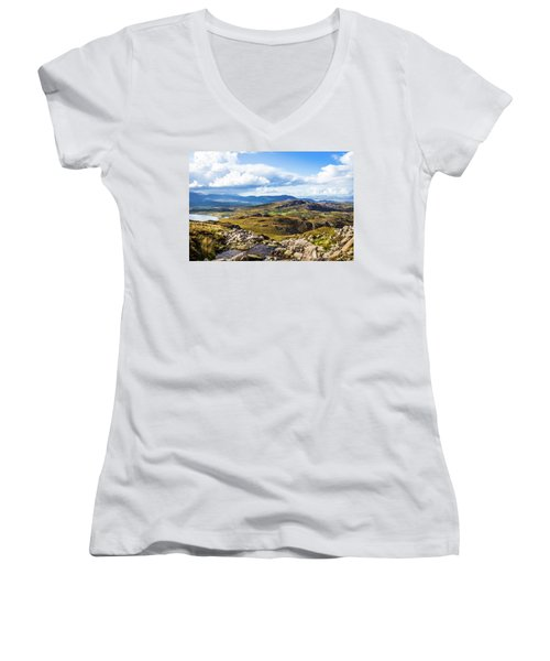Women's V-Neck T-Shirt (Junior Cut) featuring the photograph Little Stream Running Down The Macgillycuddy's Reeks by Semmick Photo