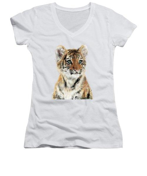 Little Tiger Women's V-Neck T-Shirt (Junior Cut) by Amy Hamilton