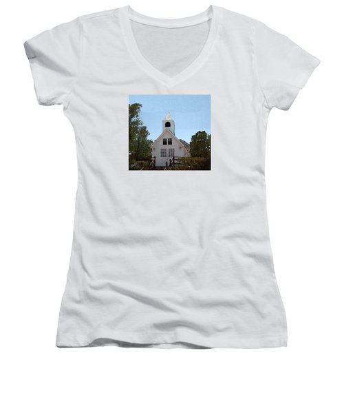 Little White Church Women's V-Neck T-Shirt (Junior Cut) by Walter Chamberlain