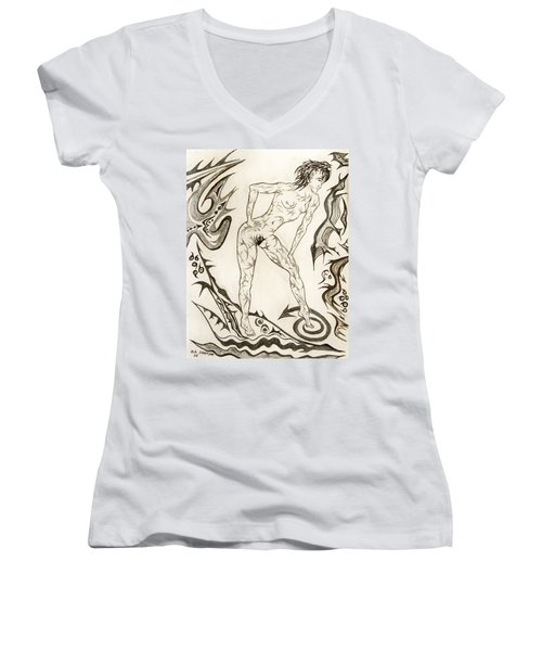 Live Nude 3 Female Women's V-Neck (Athletic Fit)