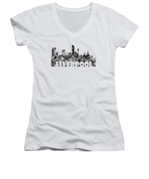 Liverpool England Skyline Women's V-Neck (Athletic Fit)
