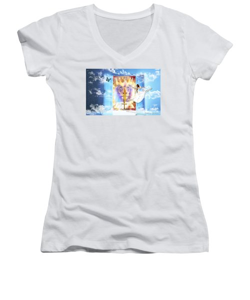 Living Word Of God Women's V-Neck T-Shirt (Junior Cut) by Dolores Develde