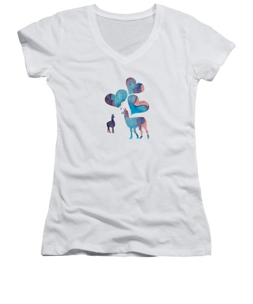 Llama Art Women's V-Neck T-Shirt