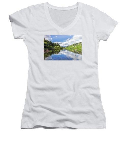 Llyn Mymbyr And Snowdon Women's V-Neck T-Shirt (Junior Cut) by Ian Mitchell