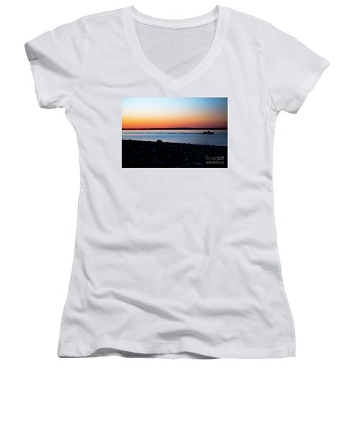 Lobster Boat In Maine Women's V-Neck (Athletic Fit)