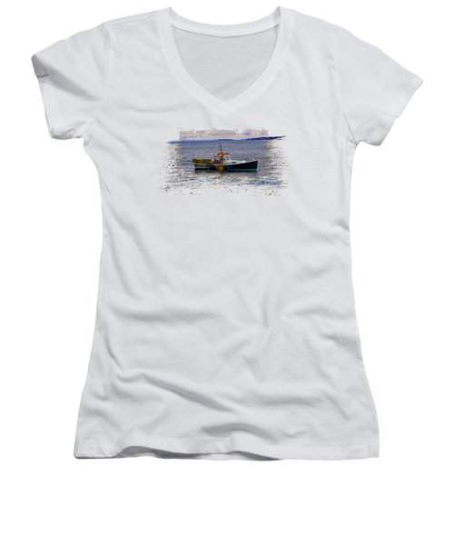 Lobstermen Women's V-Neck T-Shirt (Junior Cut) by John M Bailey