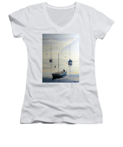 Locarno Boats In February Women's V-Neck T-Shirt (Junior Cut) by David Gilmore